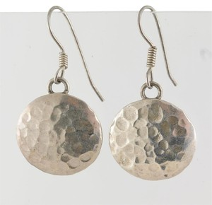 Round Hammered 925 Sterling Silver Dangle Earrings