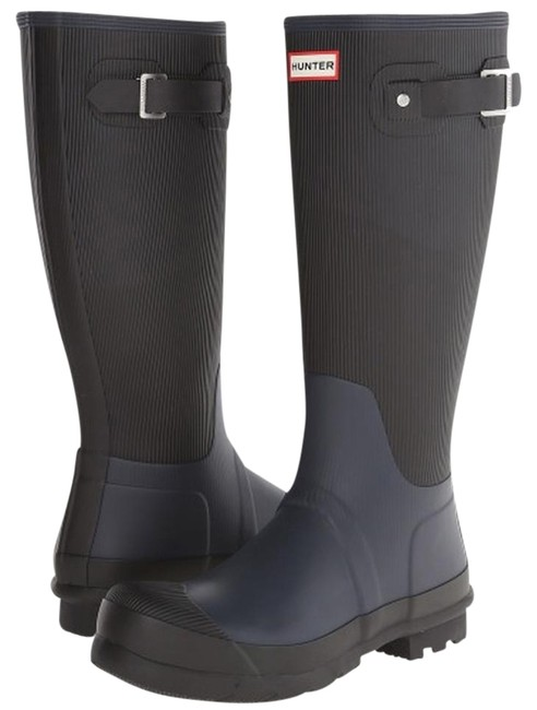 Item - Navy/Black Ribbed Leg Rain Boots/Booties Size US 10 Wide (C, D)