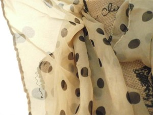 Other NEW HANDMADE POLKA DOT TAN/BLACK SCARF 60X15 INCHES