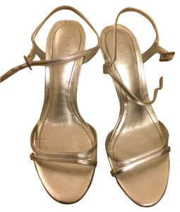 Ralph Lauren Metallic Party Ankle Strap Stiletto Silver Sandals