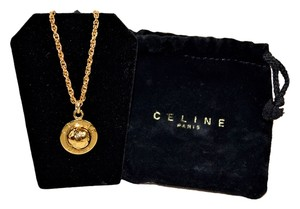 Céline Authentic New Celine Gold Tone Circle Necklace