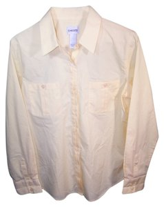 Chico's Button Down Shirt solid yellow