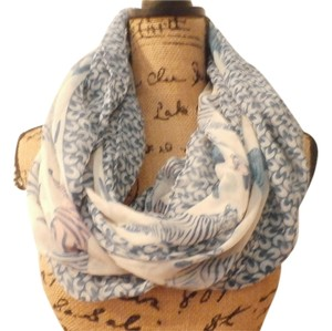 Other NEW HANDMADE BEAUTIFUL VISCOSA CEBRA INFINITY SCARF BLUE WHITE
