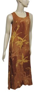 Multi-Color: Browns and mustard Maxi Dress by Max Mara Size 2
