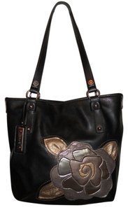 Relic Faux Leather Tote in black with gold trim