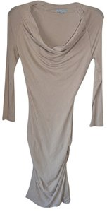 James Perse Cowl Neck Cotton Beige Casual Date Dress
