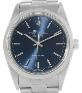 Rolex Rolex Air King Oyster Perpetual Blue Baton Dial Steel Watch 14000