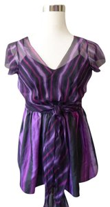 DKNY Sheer Vneck Empire Waist Top Purple