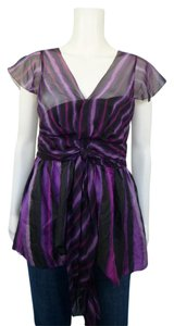 DKNY Sheer Vneck Empire Waist Tie Waist Top Purple