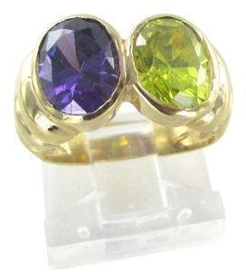 Other 18K SOLID YELLOW GOLD RING SZ 3 SEMI PRECIOUS STONES WEDDING BAND