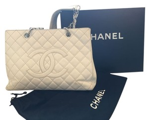 Chanel Grand Shopping Gst Silver Hardware Cute Tote in White