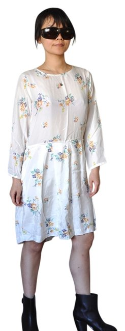 Item - White Habutai Floral Silk Summer Spring Mid-length Night Out Dress Size 4 (S)