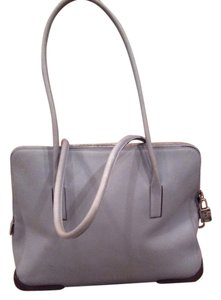 Prada Vintage Leather Tote in Pale Blue with Brown Trim