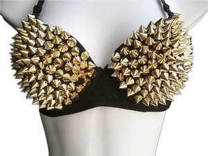 Other Bra Spikes Bralet Clubwear 38b Top Gold Black