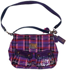 Coach Satchel in purple pink plaid