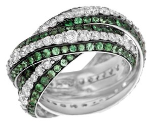 DAVIDE CURRADO DAVIDE CURRADO 18K White Gold Band 7.17ctw Diamonds Tsavorite Garnets 12.9G