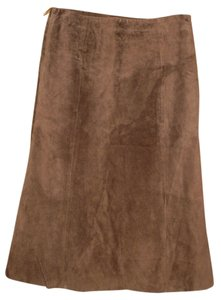 John Carlisle Suede A-line Skirt Brown