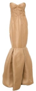 J. Mendel Gown Strapless Bustier Pleated Dress