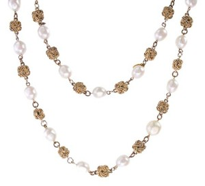 Chanel Chanel Vintage Gold Knotted Pearl Necklace