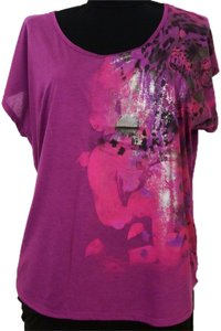 Dolled Up Top Metallic Abstract w Leopard Art 3x