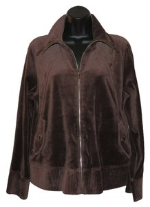 Jones New York Zipper Soft Sweatshirt Brown Jacket