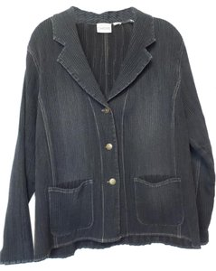 Chico's Chambray Crinkle Xl Stretch Dark Blue Wash Jacket
