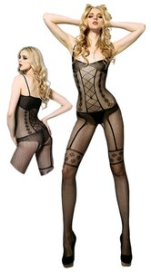 Black Faux Garter and Teddy Body Stocking