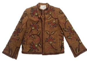 Oscar de la Renta Hand Embroidered Classic Timeless Brown Jacket