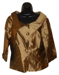 Allison Taylor Silk Buttoned Lightweight Button Down Shirt Bronze