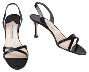 Manolo Blahnik Lizard Strappy Heels Black Sandals