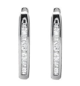 Jewelry Unlimited White Gold Finish Invisible Set One Row Baguette Cut Diamond Hoop Earring 0.25ct