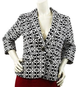Adrienne Vittadini Black White Cotton Petite Top