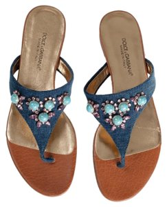 Dolce&Gabbana Turquoise Jeweled Flats Flipflops Crystals Swarovski Blue Brown Denim Sandals