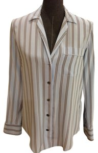 1cd2f20b9b764 Equipment Silk Longsleeve Notched Collar Button Front Extra Small Top blue  striped