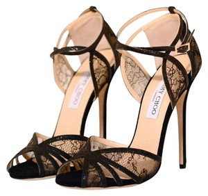 Jimmy Choo Lace Velvet Ankle Strap Black Sandals