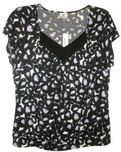 Worthington Top New Black/Purple/White Print size 1x