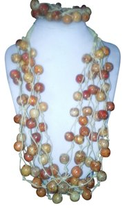 Handmade Handmade Wooden Bead Layered Necklace Set