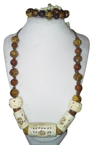 Handmade Handmade Tribal Style Brown Ceramic Bone Beaded Necklace Set