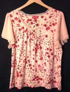 Elle Top Peachy Pink w Red Floral Design, size 1x