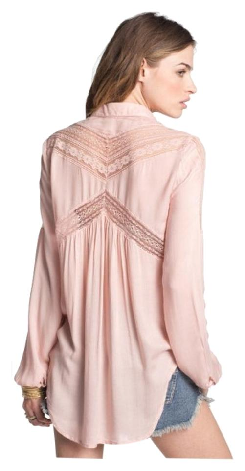 569a33ef76d82 Free People  wild Wind  Lace Inset Button Down Blouse Size 6 (S ...