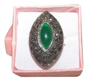 Bold Green & Diamante Fashion Ring Free Shipping