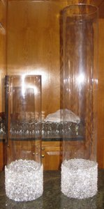 Clear Cylindrical Vases with Rhinesto Centerpiece
