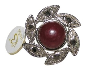 Other Burgundy Diamante Flower Swirl Rhinestone Ring Free Shipping