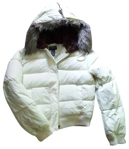 American Eagle Outfitters Faux Fur Hood Hooded White Jacket