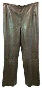 Lafayette 148 New York Leather Straight Pants BROWN