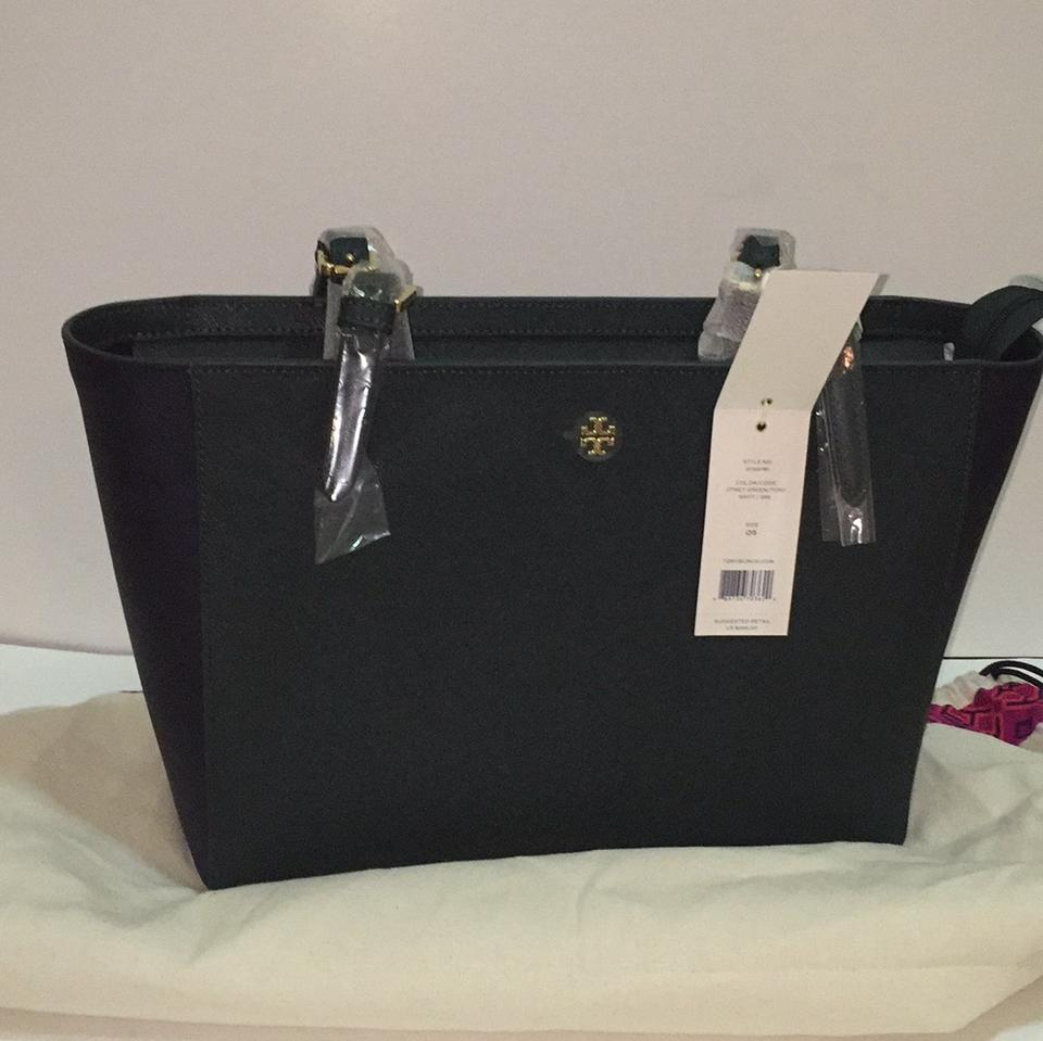 70643089b45 Tory Burch York Small Color Block Jitney Green Navy Leather Tote 33% off  retail