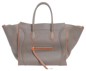 Céline Large Two Trim Phantom Luggage Handbag Tote in Grey Gray Orange