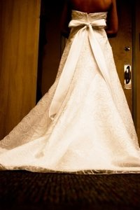 David's Bridal D9406 White Crystal Embellished Flowers Empire Sas Wedding Dress