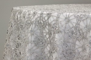 30 Beautiful Silver Custom Lace 90x90 Table Overlays