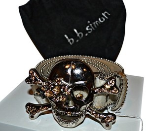 BB Simon Designer Swarvoski Crystal b.b. Simon Skull Belt *Very Unique*